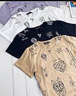 Стильная женская котоновая футболка принт 42-44 44-46 бежевый черный белый лаванда