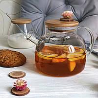 Заварочный чайник DS Стокгольм 1 л с бамбуковой крышкой