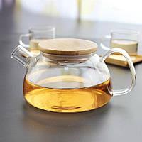 Чайник заварочный DS Stockholm стеклянный с бамбуковой крышкой 500 мл