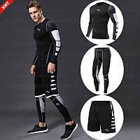 """Компрессионная одежда комплект 3 в 1 PUMA (Пума) для тренировок Черный Пакистан """"В СТИЛЕ"""""""