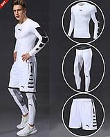 """Компрессионная одежда комплект 3 в 1 PUMA (Пума) для тренировок Белый Пакистан """"В СТИЛЕ"""""""