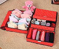 Набор из трех органайзеров для хранения нижнего белья, носков , платков