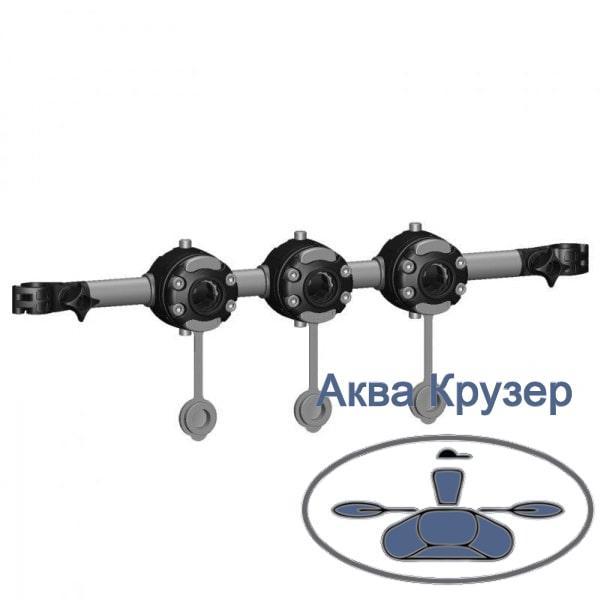 Тарга 460 мм FASTen Borika Rn460-3 с тремя замками FMr125 и хомутовым креплением на каркас байдарки или каяка