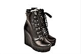 Ботинки женские зимние на танкетке кожаные черные 141112, фото 2