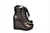 Ботинки женские зимние на танкетке кожаные черные 141112, фото 3