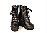 Ботинки женские зимние на танкетке кожаные черные 141112, фото 4