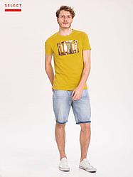 Желтая мужская футболка с принтом Volcano хлопок