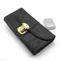 Черный кожаный кошелек женский Louis Vuitton