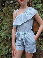 Детский комбинезон-рюш в полоску девочки 7-10 лет,цвет уточняйте при заказе, фото 1