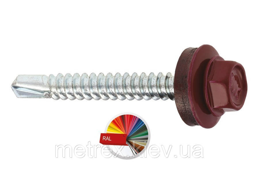 Саморез окрашенный 5.5х25 RAL 8019 по металлу