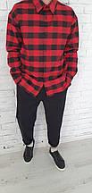 Рубашка мужская ОВЕРСАЙЗ клетка красно-черная ткань фланель пр-во Турция  О Д