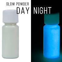 Люминофор бесцветный\синее свечение.  Уп. 100 г. Светящийся в темноте пигмент.