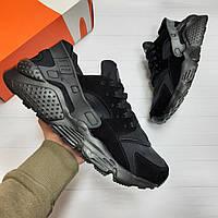 Кроссовки мужские Nike air Huarache black демисезонные кеды adidas