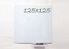 Безрамная стеклянная магнитная доска маркерная Tetris 125×125 см. Белая доска на стену для рисования маркером