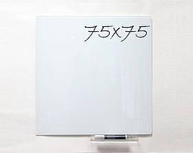 Безрамная стеклянная магнитная доска маркерная Tetris 75×75 см. Белая доска на стену для рисования маркером