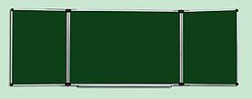 Крейдяна дошка 100x300 см в алюмінієвій рамці ABC Office трисекційна зелена