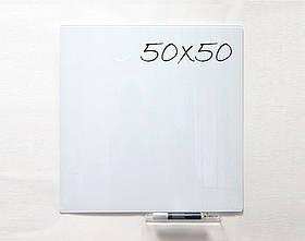 Безрамная стеклянная магнитная доска маркерная Tetris 50×50 см. Белая доска на стену для рисования маркером