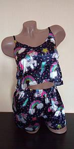 Женская пижама единорог шелковая піжама жіноча комплект маєчка шорти