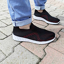 Черные кроссовки носки тканевые летние мужские текстильные легкие на белой подошве, фото 3