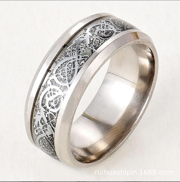 Кільце з малюнком Дракона 8 мм срібного кольору. Розмір: 17-23. кільце жіноче, чоловічі кільця