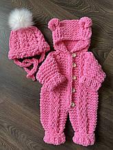 Детский мягкий вязаный плюшевый комбинезон из гипоаллергенной пряжи для девочки ручной работы.