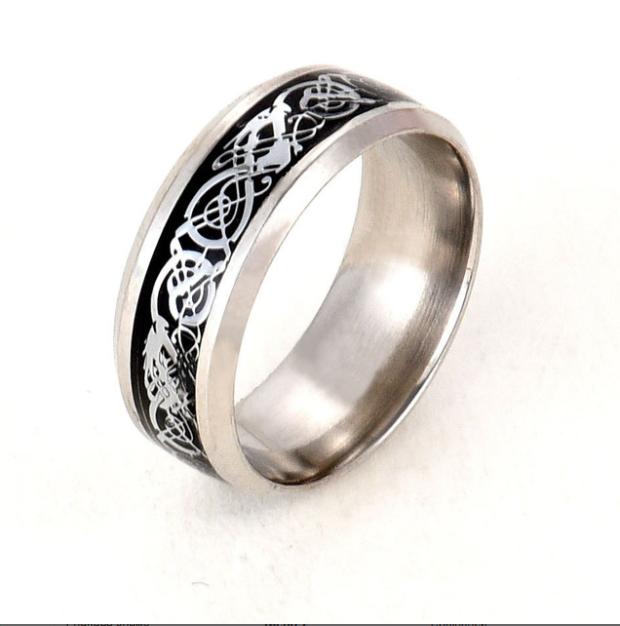 Кольцо с рисунком Дракона 8 мм. Размеры: 17-24. Черное кольцо мужское