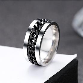 Черное мужское кольцо из ювелирной стали с цепью 8 мм. Размер 19-22. Кольцо в подарок мужчине папе