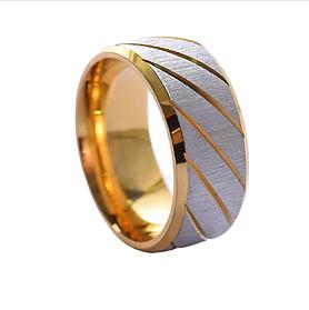 Ребристые кольца для мужчин золотого цвета 8 мм. Размер 18-21. Кольцо на большой палец мужское