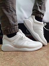 Стильні літні шкіряні кросівки білі Bertoni
