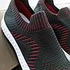 Черные кроссовки носки тканевые летние мужские текстильные легкие на белой подошве, фото 5