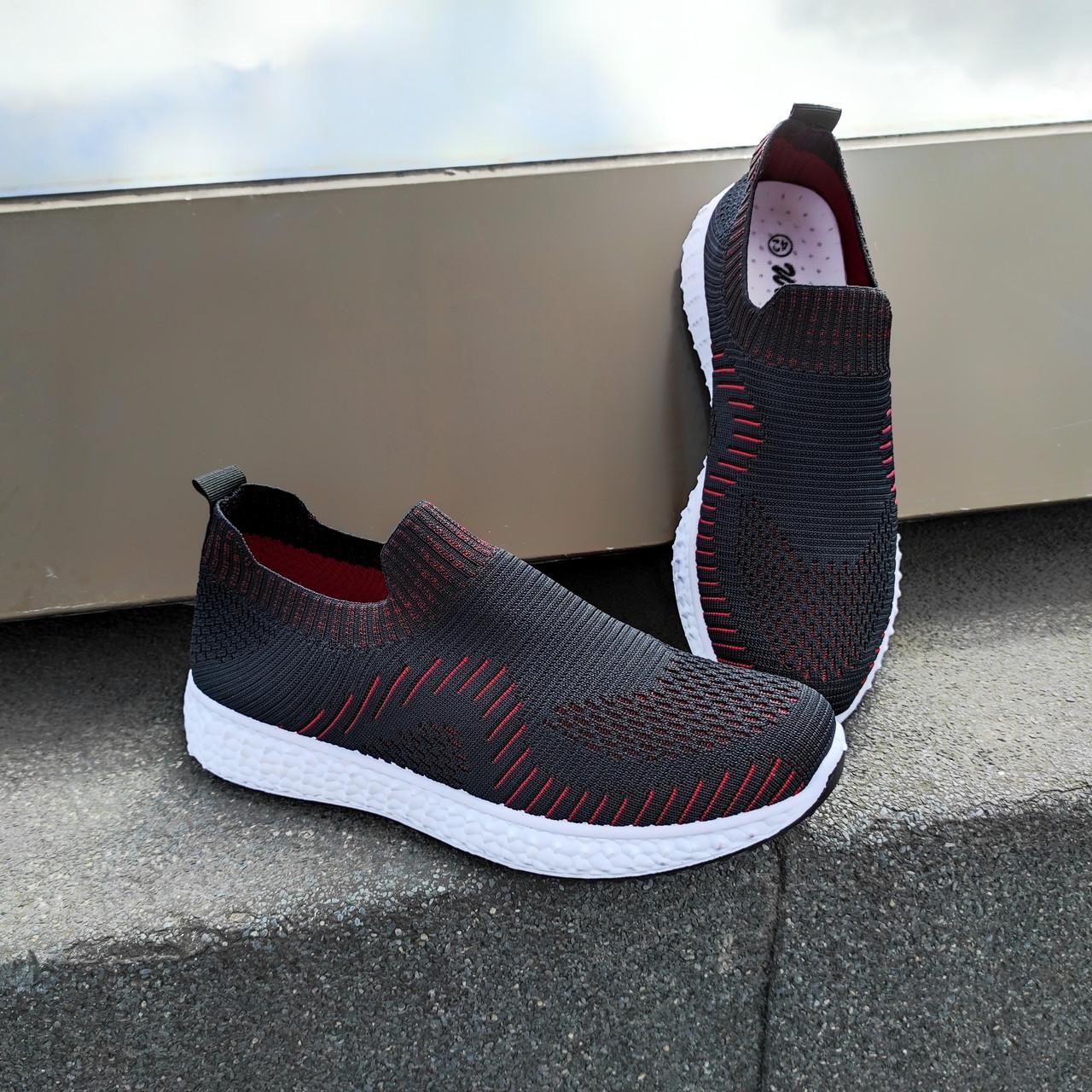 Черные кроссовки носки тканевые летние мужские текстильные легкие на белой подошве