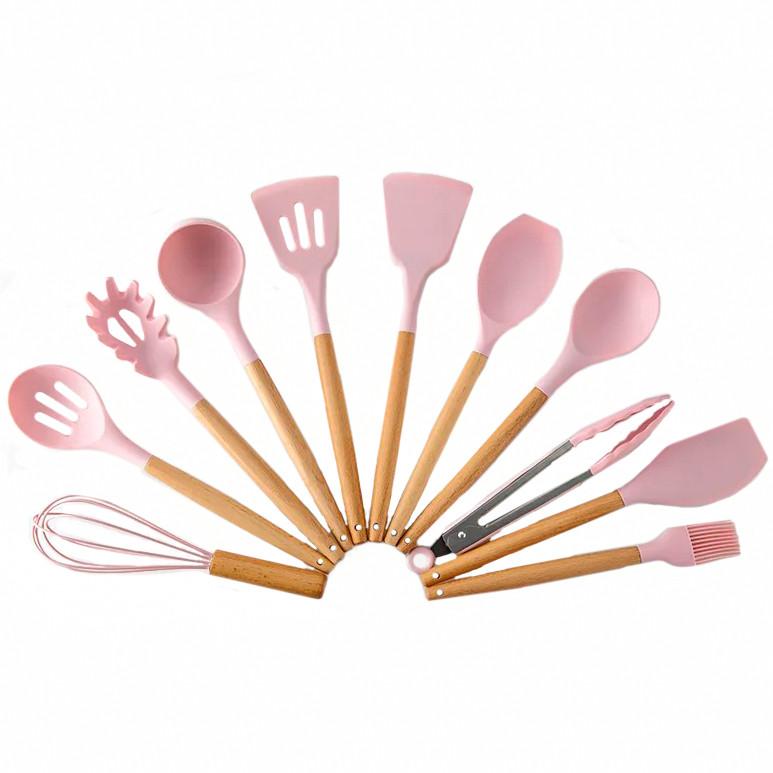 """Кухонне приладдя """"Kitchen & dining Рожевий"""" набір, кухонні лопатки силіконові (кухонные принадлежности)"""