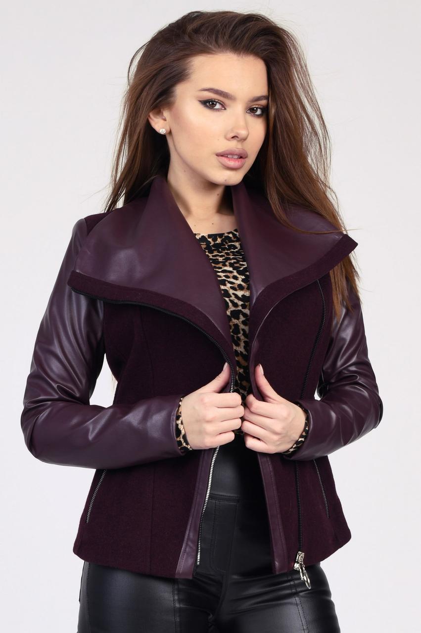 Демисезонное женское пальто в стиле куртки-авиатор марсала