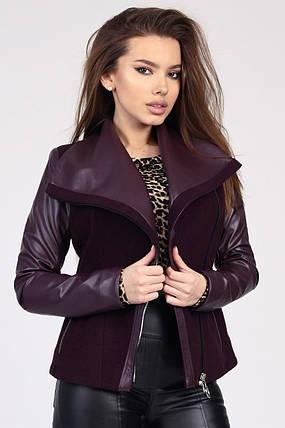 Демисезонное женское пальто в стиле куртки-авиатор марсала, фото 2