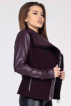 Демисезонное женское пальто в стиле куртки-авиатор марсала, фото 3
