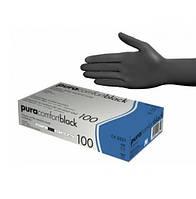Перчатки нитриловые PURA COMFORT BLACK M/L/XL нестерильные без пудры 100 шт/пач