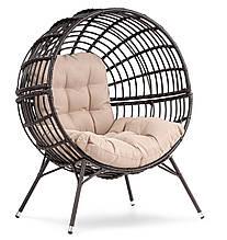 Кресло садовое круглое металлическое di volio arancia коричнево-бежевое