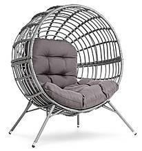 Садовое кресло для террасы круглое металлическое di volio arancia серо-графитовое