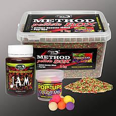 Набір Method Pellets Box Color MIX 2mm/1kg + Amino Booster J. A. M. 100ml + Pop-Ups 10mm/15pc