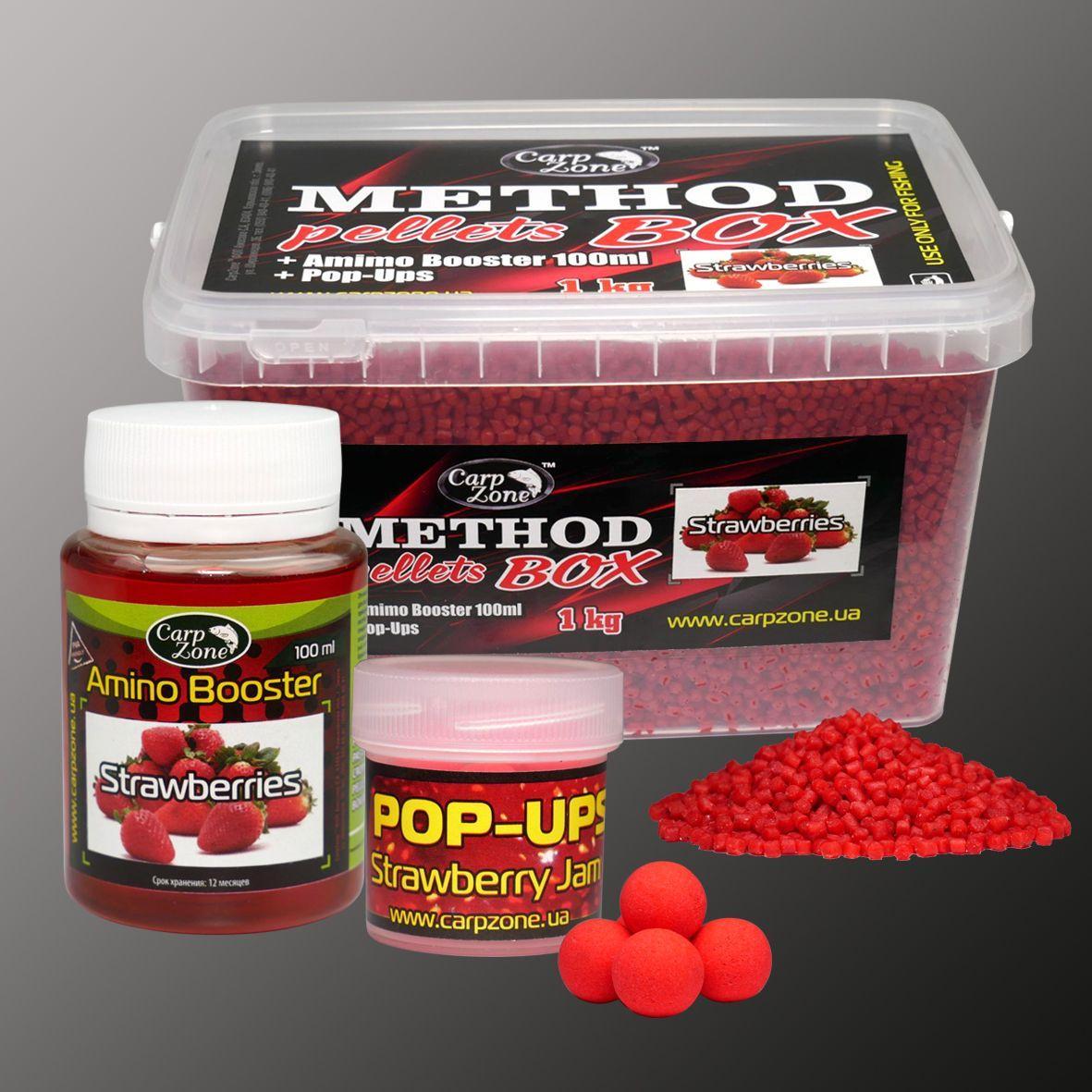 Набор Method Pellets Box Strawberries (Клубника) 3mm/1kg + Amino Booster 100ml + Pop-Ups 8mm/30pc