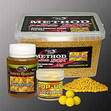 Набор Method Pellets Box Sweet Corn (Сахарная Кукуруза) 3mm/1kg + Amino Booster 100ml + Pop-Ups 8mm/30pc