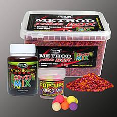 Набір Method Pellets Box Crazy Mix (Божевільний Мікс) 3mm/1kg + Amino Booster 100ml + Pop-Ups 10mm/15pc