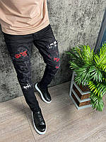 Мужские джинсы стильные зауженные с потертостями и надписями черные (j-306) крутая одежда