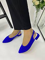 Босоножки балетки замшевые синие на низком ходу, 37 размер, фото 1