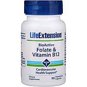 Фолат и B12, BioActive Folate & Vitamin B12, Life Extension, 90 Вегетарианских Капсул
