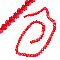 """Бусины """"рондель"""" хрустальные (стекло) на нитке 6мм, цвет алый, L- 45см купить оптом в интернет магазине"""