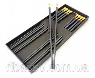 9220007 Палочки для еды эбонитовые с металлом набор 5 пар Желтый металл