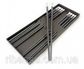 9220007 Палички для їжі ебонітові з металом набір 5 пар Білий метал