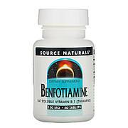 Бенфотиамин, 150 мг, Benfotiamine, Source Naturals, 60 таблеток