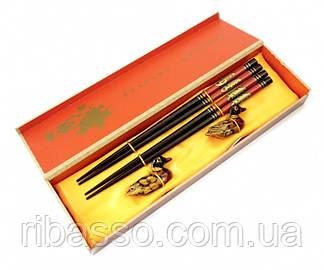9220000 Палички для їжі 2 пари + 2 підставки в подарунковій коробці №1